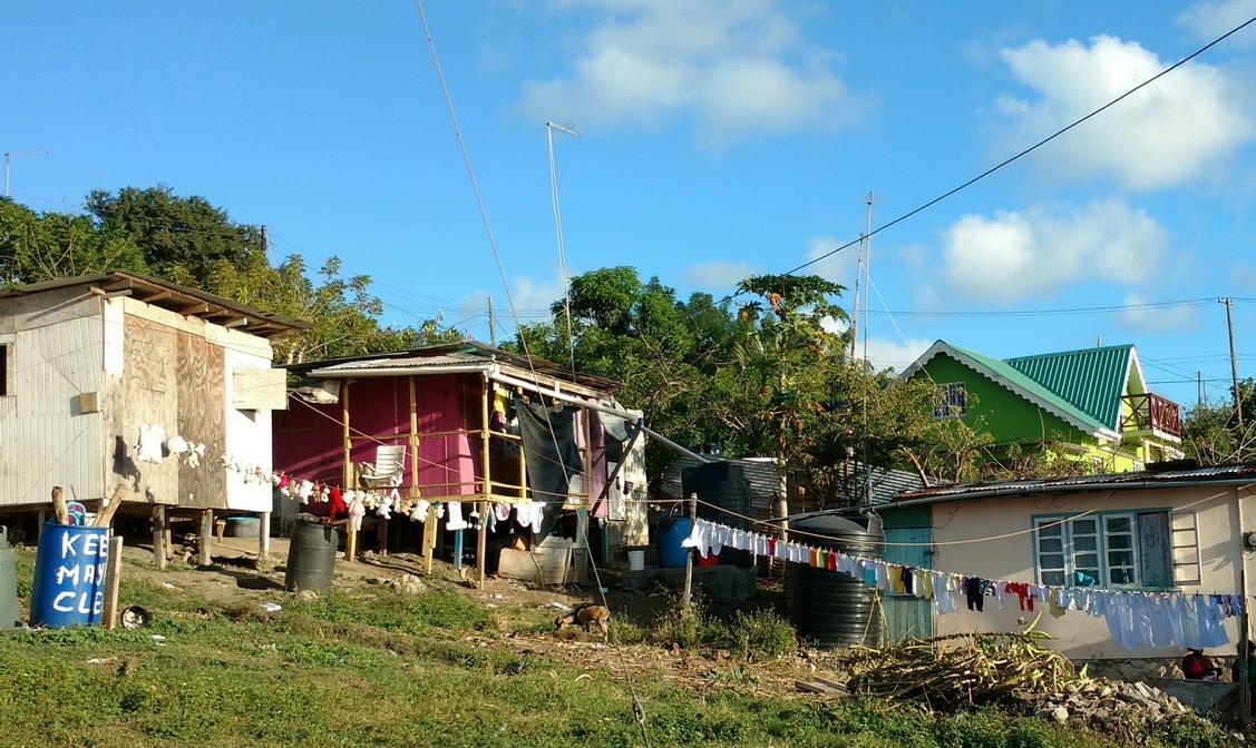 11. Au village de Tarzan à Mayreau, le linge d'une famille nombreuse sèche au soleil
