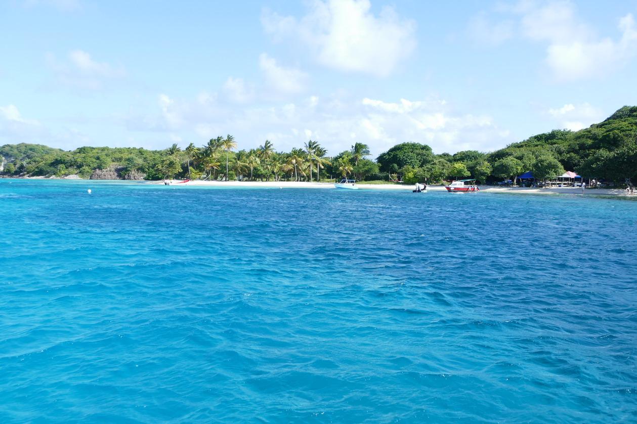 14. Les Tobago cays, la plage et le restaurant de Petit Bateau