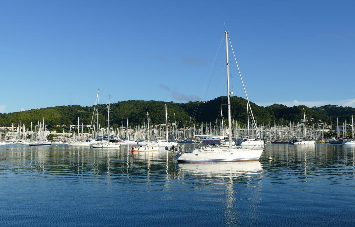 28. La Martinique, la zone de mouillage et la marina du Marin ; les mâts sont serrés comme des allumettes