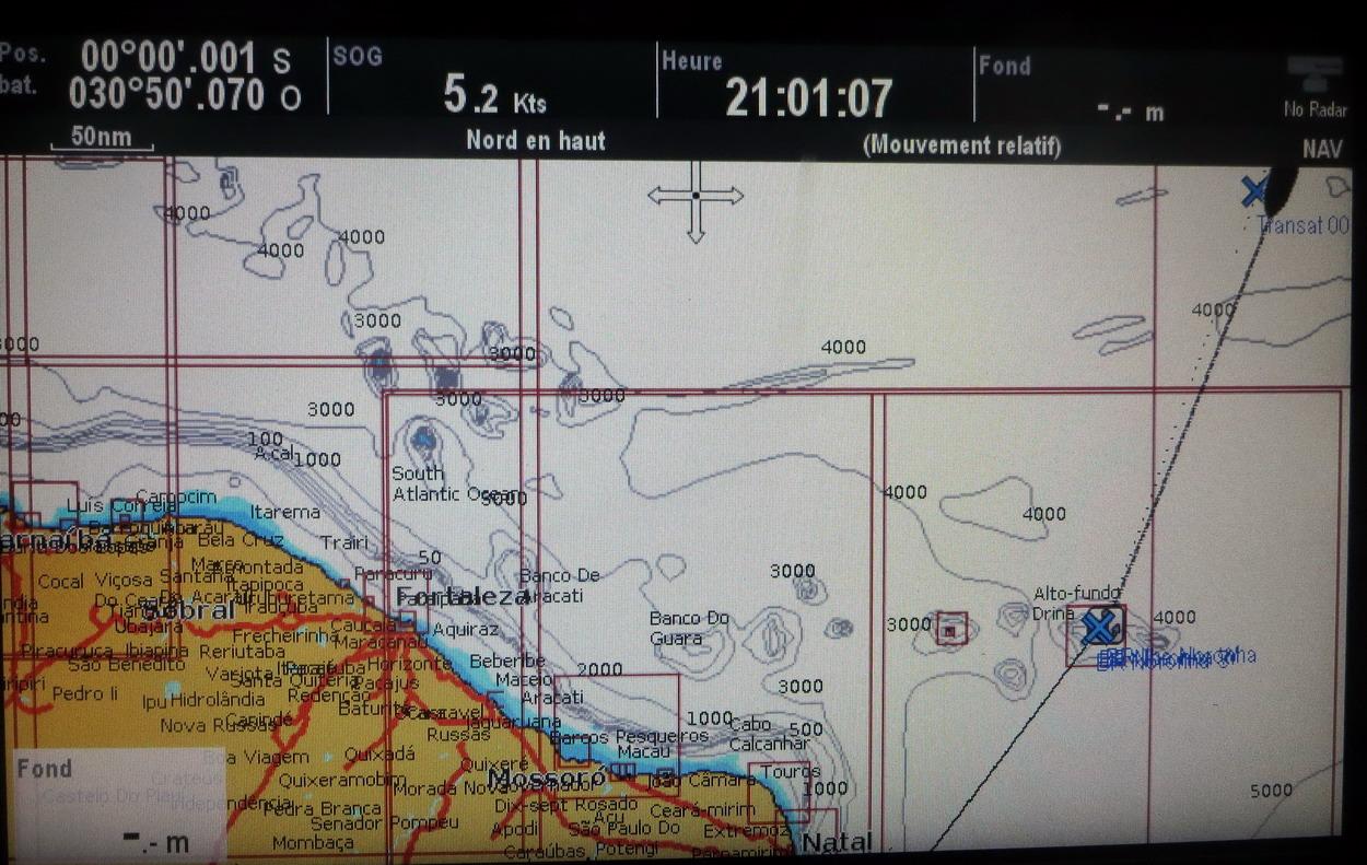 32. Un millième de minute, soit 1,852 m, après l'équateur (Mindelo est représenté en noir, en haut à droite)
